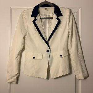 Cream / Navy Blue Blazer